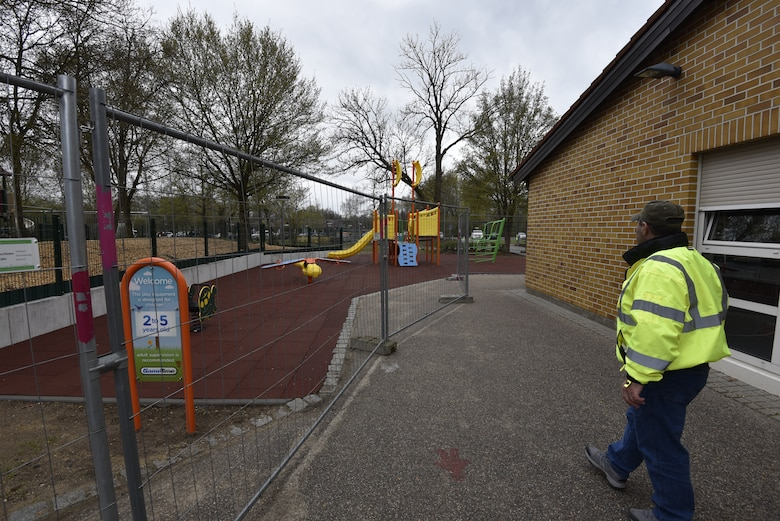 U.S. Army Corps of Engineers, Europe District Project Engineer John Taylor checks out a recently completed playground awaiting its final inspection May 6, 2021 at Vilseck Elementary School on Rose Barracks in Vilseck, Germany, which is part of U.S. Army Garrison Bavaria. The playground is one of three new replacement playgrounds for students of Soldiers and personnel stationed at Rose Barracks are part of a larger, long-term collaboration between the U.S. Army Corps of Engineers and the garrison to provide new and renovated family housing and other quality of life projects for personnel and their families stationed at Rose Barracks.