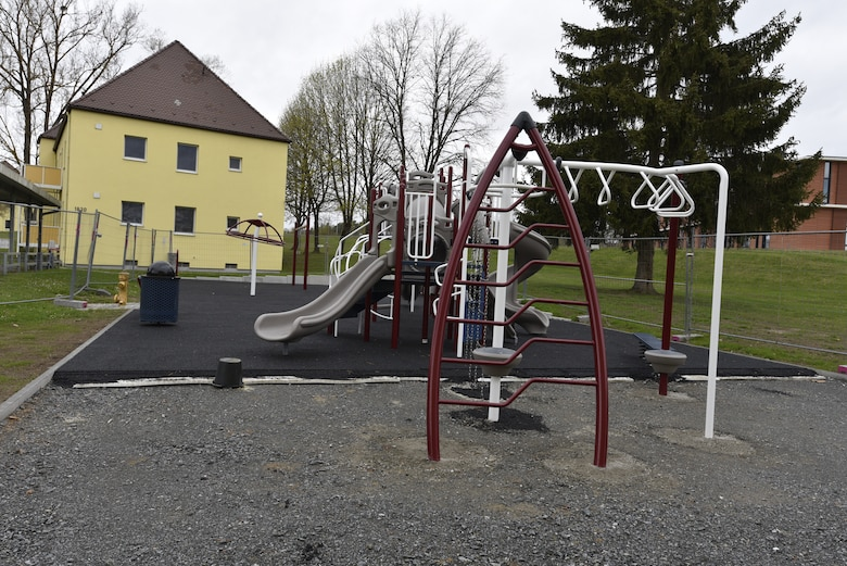 The U.S. Army Corps of Engineers, Europe District is finishing construction of a new playground, pictured here May 6, 2021, in the Langenbruck Housing Area on Rose Barracks in Vilseck, Germany, which is part of U.S. Army Garrison Bavaria. The playground is part of a larger, long-term collaboration between the U.S. Army Corps of Engineers and the garrison to provide quality of life projects, as well as new and renovated family housing, for Soldiers and their families stationed at Rose Barracks.