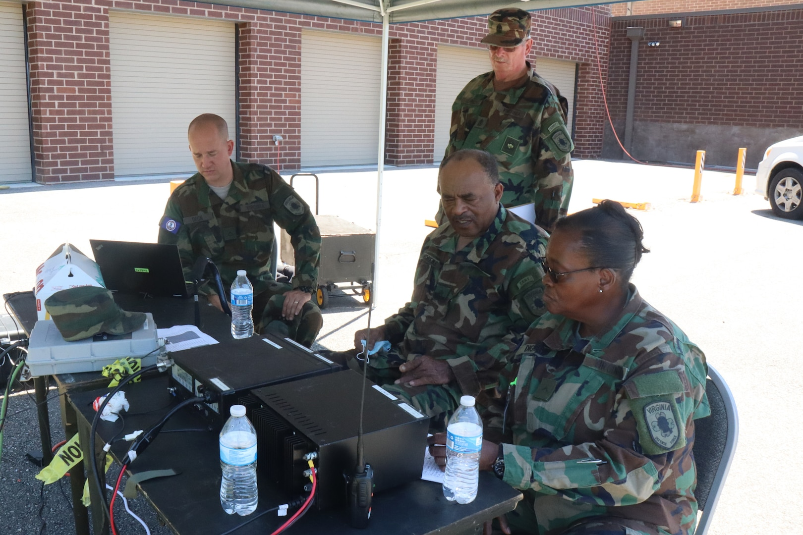 Virginia Defense Force personnel assigned to 1st Regiment provide access control at a Mobile Communication Platform June 5, 2021, in Lynchburg, Virginia.