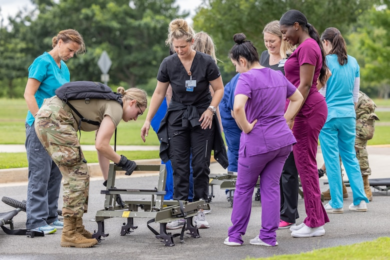 U.S. Airmen with the 116th Medical Group, Detachment 1, Georgia Air National Guard, conduct litter training at Central Georgia Technical College in Warner Robins, Georgia, June 11, 2021.