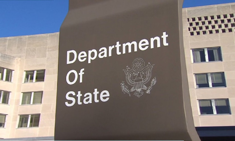 """A sign outside a building reads """"Department of State."""""""