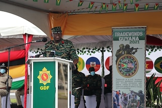 Brigadier George Bess, Guyana DefenCe Force Chief of Staff, addresses attendees during the opening ceremony for exercise Tradewinds 21.