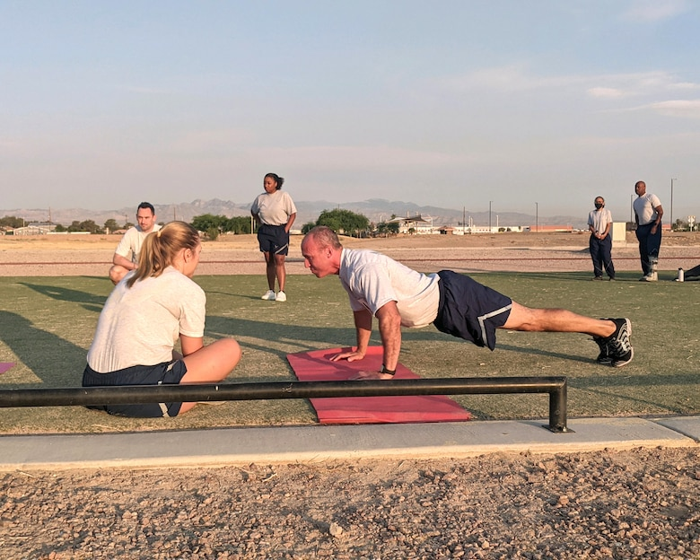 Maj. Mike Giaquinto, 926th Wing Public Affairs officer, performs a diagnostic physical fitness test, June 15, at Nellis Air Force Base, Nevada. (U.S. Air Force photo by Dan Mena)
