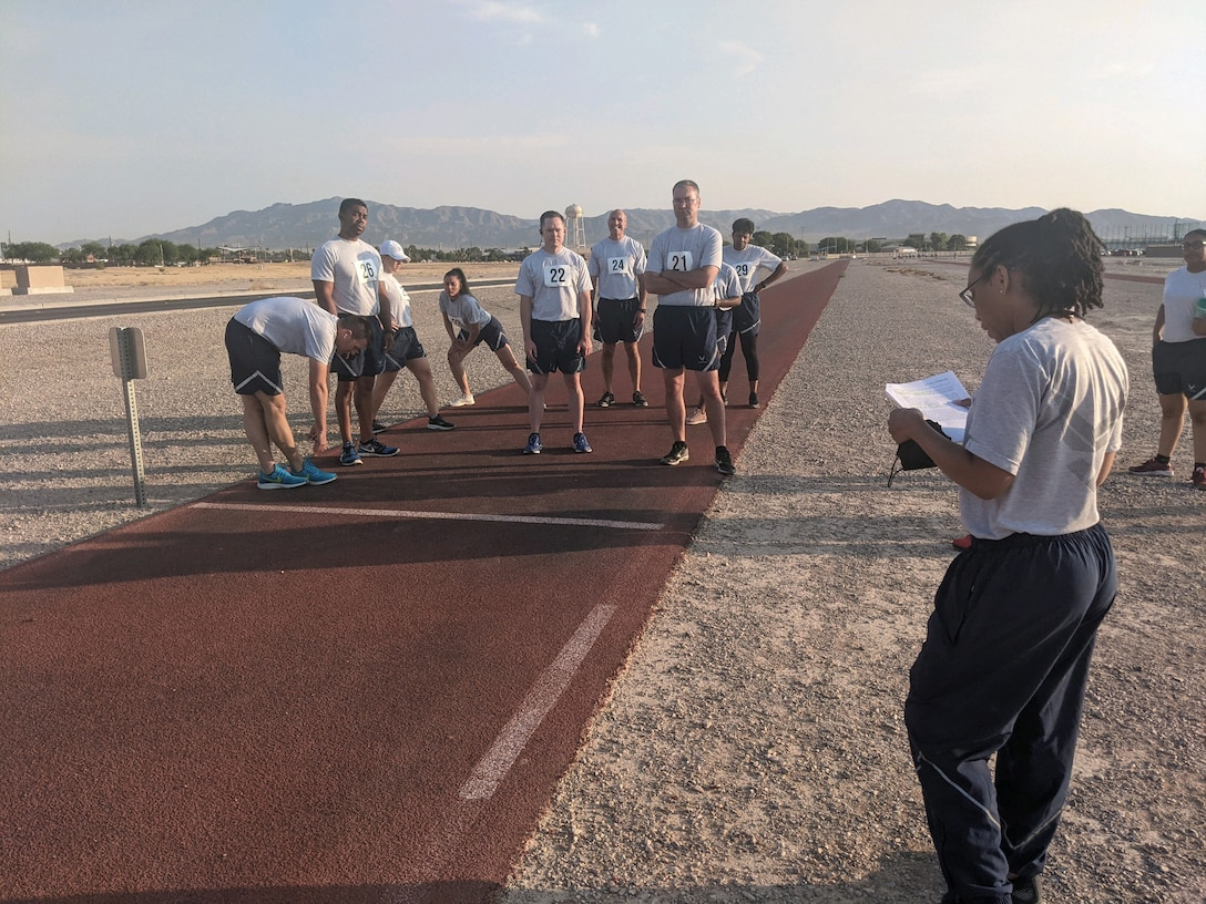 926th Wing Reserve Citizen Airmen perform a diagnostic physical fitness test June 15, at Nellis Air Force Base, Nevada. (U.S. Air Force photo by Dan Mena)