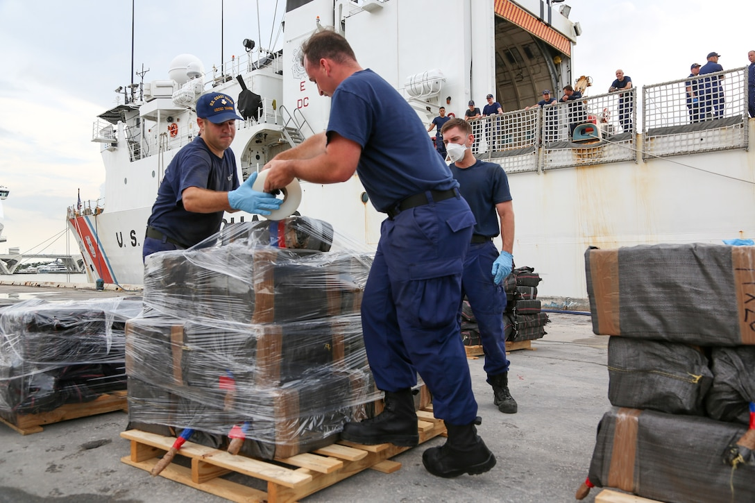 Coast Guard Cutter Tahoma's crew offloads more than 7,500 pounds of cocaine, an estimated street value of $143.5 million.