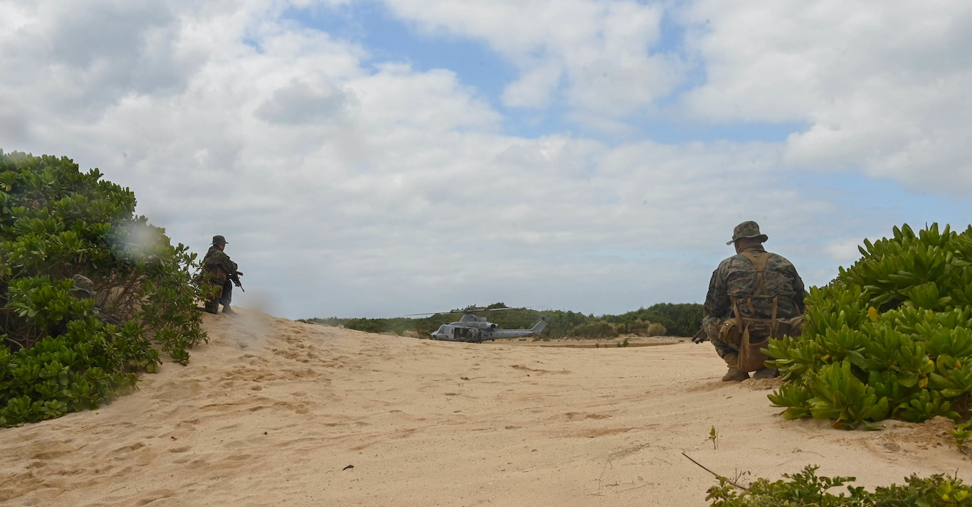 U.S. Marines with 3rd Battalion, 8th Marine Regiment, provide security during exercise Hagåtña Fury 21 on Ukibaru, Japan, Feb. 18, 2021. The exercise demonstrated that Marines are capable of seizing, defending, and providing expeditionary sustainment for key maritime terrain in support of the III Marine Expeditionary Force. 3/8 is attached to 3rd Marine Division as a part of the unit deployment program.