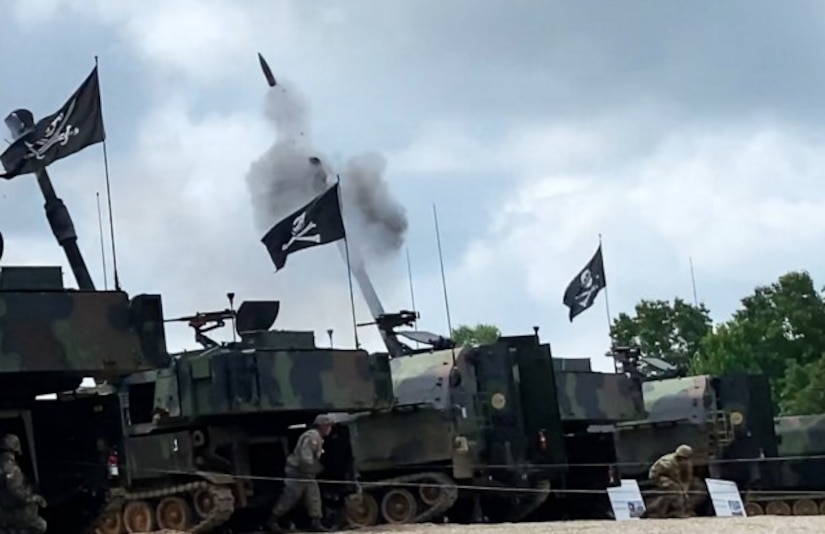 Several M109A6 Self-Propelled 155mm Howitzers pound the skies over Fort Knox June 11, 2021