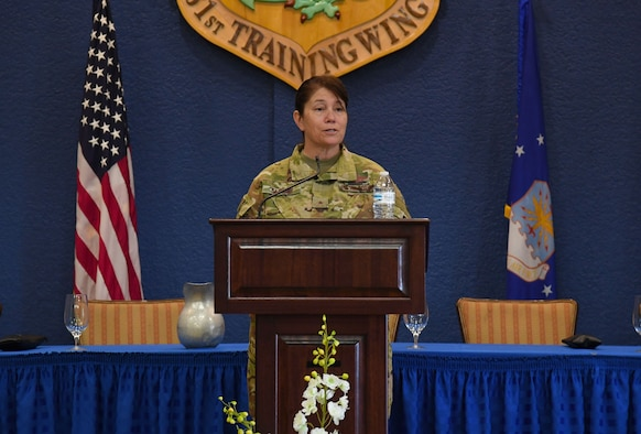 U.S. Air Force Brig. Gen. Brenda Cartier, 19th Air Force vice commander, delivers remarks for Pride Month inside the Bay Breeze Event Center at Keesler Air Force Base, Mississippi, June 15, 2021. Keesler celebrates Pride Month throughout June, with events such as a scavenger hunt, discussion panel and an LGBTQ+ informational expo. (U.S. Air Force photo by Kemberly Groue)