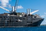 191111-N-CO914-1071  DIEGO GARCIA, British Indian Ocean Territory (November 11, 2019) Sailors lower a maritime prepositioning force utility boat from Military Sealift Command Bob Hope-class roll-on roll-off vehicle cargo ship USNS Seay (T-AKR 302) using a crane during an Improved Navy Lighterage System (INLS) training mission. Navy Cargo Handling Battalion (NCHB) 1, NCHB 8, NCHB 11, NCHB 13, Assault Craft Unit (ACU) 1 and Amphibious Construction Battalion (ACB) 1 are participating in the INLS training mission under the direction of Commander, Task Force (CTF) 75 in preparation for upcoming joint cargo handling exercise Native Fury 2020. (U.S. Navy photo by Mass Communication Specialist 1st Class Nathan Carpenter)