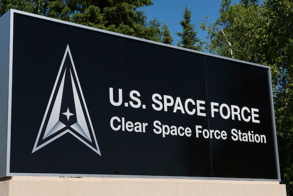 Clear Air Force Station is renamed to Clear Space Force Station, June 15, 2021, Clear SFS, Alaska. The renamaing of Clear was one of several Air Force space-centric installations to be redesignated as Space Force installations to establish a distinct culture and indentity for the Space Force. (U.S. Air National Guard photo by Tech. Sgt. Adam Keele)