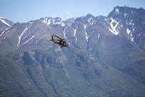 Pilots and crew members of the Alaska Army National Guard's 1st Battalion, 207th Aviation Regiment fly ground search and rescue teams with Alaska Mountain Rescue Group and MAT+SAR Search & Rescue to various locations on Pioneer Peak near Palmer, AK, to search for a missing hiker, June 15, 2021. (U.S. Army National Guard photo by Spc. Grace Nechanicky)