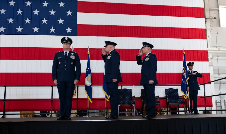 Members of the 509th Bomb Wing, render a salute to U.S. Air Force Maj. Gen. Mark Weatherington, Eighth Air Force and Commander Joint-Global Strike Operations Center, during the 509th BW change of command ceremony, Whiteman Air Force Base, Missouri, June 16, 2021. Eighth Air Force is responsible for the service's bomber force and airborne nuclear command and control assets. The J-GSOC serves as the central command and control node for all operations within Air Force Global Strike Command, orchestrating warfighting and readiness activities for the Commander, Air Forces Strategic. (U.S. Air Force photo by Airman First Class Victoria Hommel)