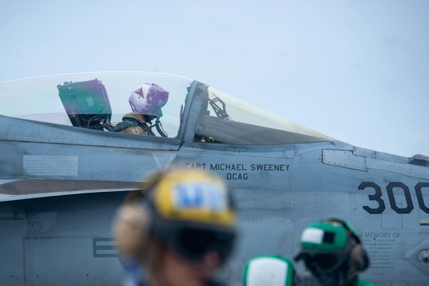 An F/A-18E Super Hornet prepares to launch from the flight deck of the U.S. Navy�s only forward-deployed aircraft carrier USS Ronald Reagan (CVN 76).