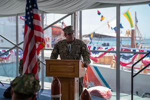 210615-N-KZ419-1252 NAVAL SUPPORT ACTIVITY BAHRAIN (June 15, 2021) Lt. Benjamin Williamsz, commanding officer of USCGC Adak (WPB 1333), delivers remarks during the decommissioning ceremony for Adak and USCGC Aquidneck (WPB 1309) onboard Naval Support Activity Bahrain, June 15. Adak and Aquidneck operated in the U.S. 5th Fleet area of operations since 2003 in support of Operation Iraqi Freedom, Enduring Freedom, Inherent Resolve and Spartan Shield. (U.S. Navy photo by Mass Communication Specialist 3rd Class Dawson Roth)