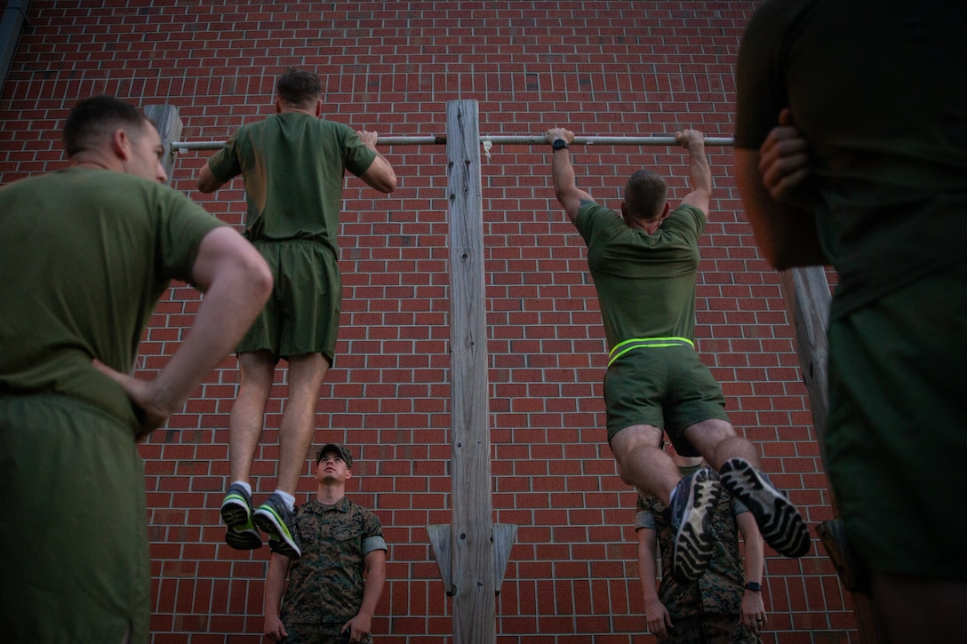 U.S. Marines with 2d Marine Division (MARDIV) conduct a physical fitness test as part of the Division Leader Assessment Program (DLAP) on Camp Lejeune, N.C., June 15, 2021.