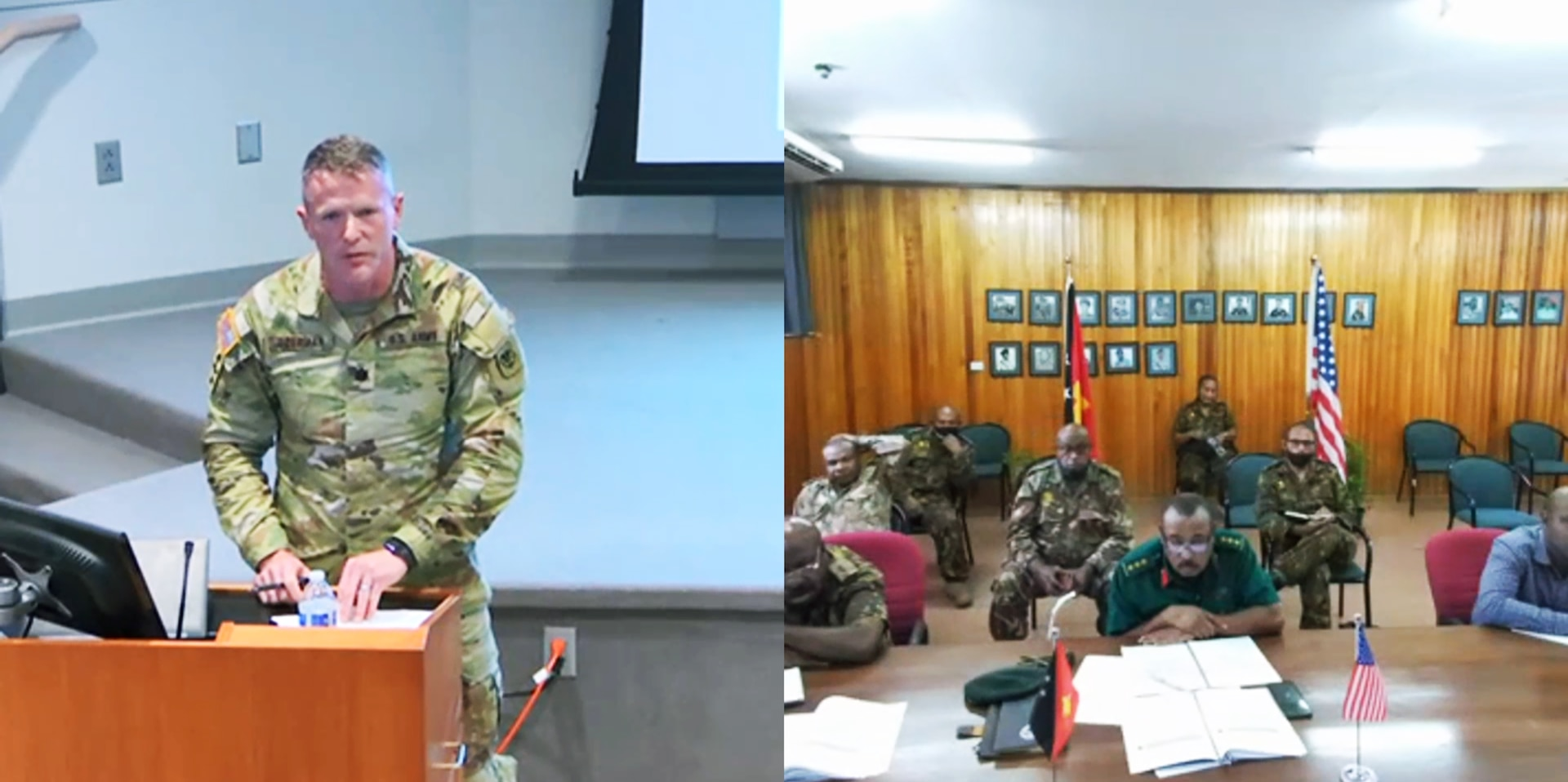 Lt. Col. Brion Aderman, Wisconsin National Guard director of domestic operations, talks about disaster response practices with members of the Papua New Guinea Defense Force May 26, 2021, during a virtual, three-day State Partnership Program workshop with Papua New Guinea in Witmer Hall at Joint Force Headquarters in Madison, Wis. The State Partnership Program links individual states with armed forces of partner nations around the world to forge mutually beneficial relationships.