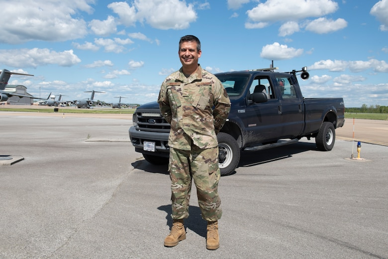 U.S. Air Force Senior Master Sgt. Alan Romero, the airfield manager with the 167th Operations Support Group, is responsible for the ramp and airfield at the 167th Airlift Wing, Martinsburg, West Virginia, May 12, 2021. Airfield management's role not only impacts military operations, but civilian aviation as well.