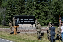 Clear Air Force Station is renamed to Clear Space Force Station, June 15, 2021, Clear SFS, Alaska. The renaming of Clear was one of several Air Force space-centric installations to be redesignated as Space Force installations to establish a distinct culture and identity for the Space Force. (U.S. Air National Guard photo by Tech. Sgt. Adam Keele)