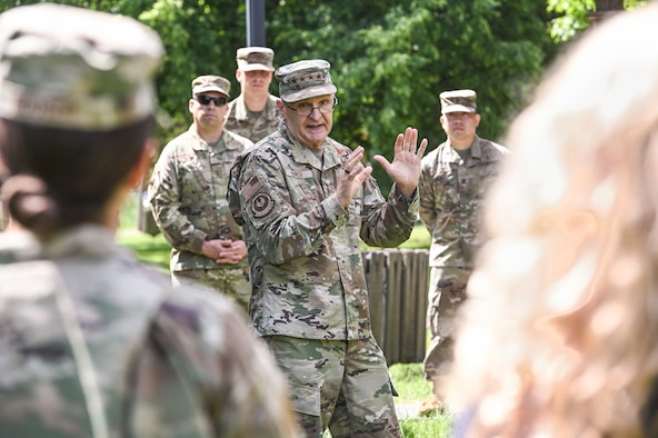 Gen. Arnold W. Bunch, Jr., Air Force Materiel Command commander, speaks to members of the 66th Medical Squadron during a visit to Hanscom Air Force Base, Mass., June 16. Bunch met with MDS personnel to thank them for their support to the Hanscom community during the COVID crisis. (U.S. Air Force photo by Todd Maki)