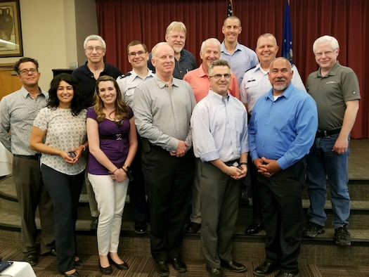 Air Force Research Laboratory Space Vehicles Directorate Demonstration and Science Experiments spacecraft senior leadership and program management team members, from the present and past, gather for the DSX end of life celebration June 7 at Kirtland AFB, N.M. (Courtesy photo)