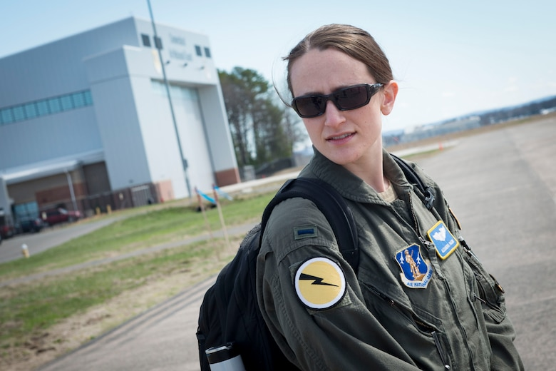 1st Lt. Alexandra Pagoni, a pilot assigned to the 118th Airlift Squadron, participates in a video shoot for a commercial to promote the Air National Guard, April 7, 2021 at Bradley Air National Guard Base, Connecticut. The commercial, part of the 'Serve Your Way' campaign, highlights how and why Air National Guard members serve in the Guard. (U.S. Air National Guard photo by Master Sgt. Tamara R. Dabney)