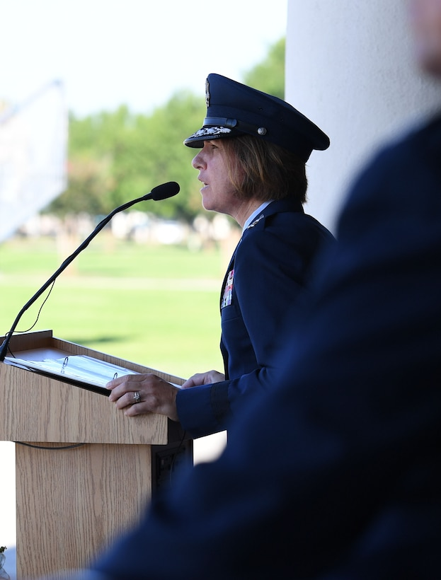 U.S. Air Force Maj. Gen. Andrea Tullos, Second Air Force commander, delivers remarks during the 81st Training Wing change of command ceremony on the Levitow Training Support Facility drill pad at Keesler Air Force Base, Mississippi, June 17, 2021. Col. Heather Blackwell relinquished command of the 81st TRW to Col. William Hunter. (U.S. Air Force photo by Kemberly Groue)