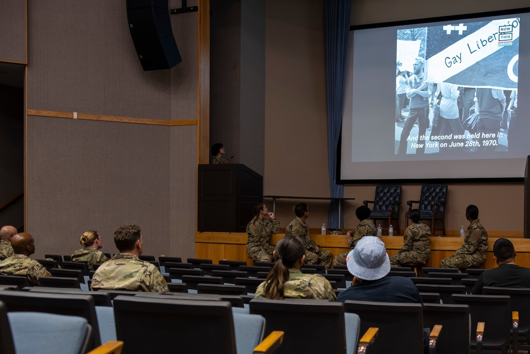Members of Laughlin Air Force Base host an open panel for pride month on June, 17, 2021. The panel was to raise awareness for service members in the LGBTQ+ community. (U.S. Air Force photo by Airman first class David Phaff)