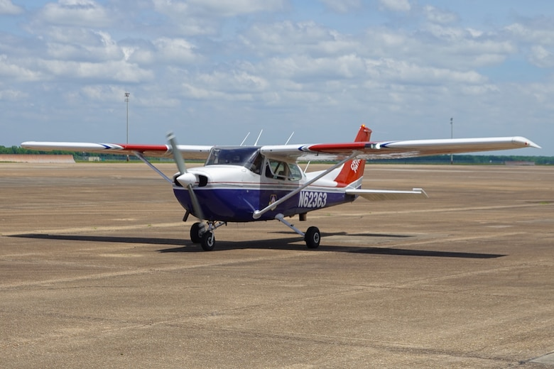A Civil Air Patrol Cessna 182 Skylane, prepares for take-off during a Mid-Air Collision Avoidance safety flight at Barksdale Air Force Base, Louisiana, May 28, 2021. Introduced in 1956, the Cessna 182 has been produced in a number of variants, including a version with retractable landing gear, and is the second most popular Cessna model still in production, after the Cessna 172. (Courtesy photo by Capt. Dustin Martin)
