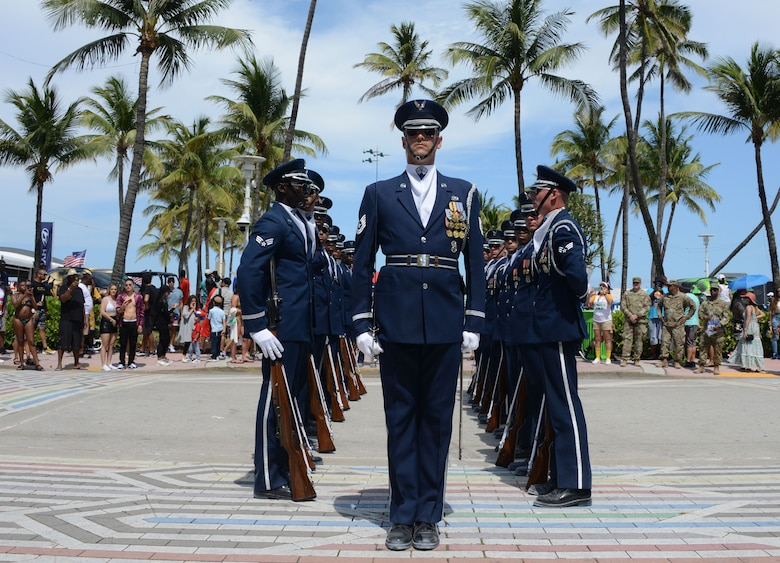 The Air Force Honor Guard, Joint Base Anacostia-Bolling, Washington D.C., was one of many Air Force performances at the Miami Air Show, May 28, 2021.
