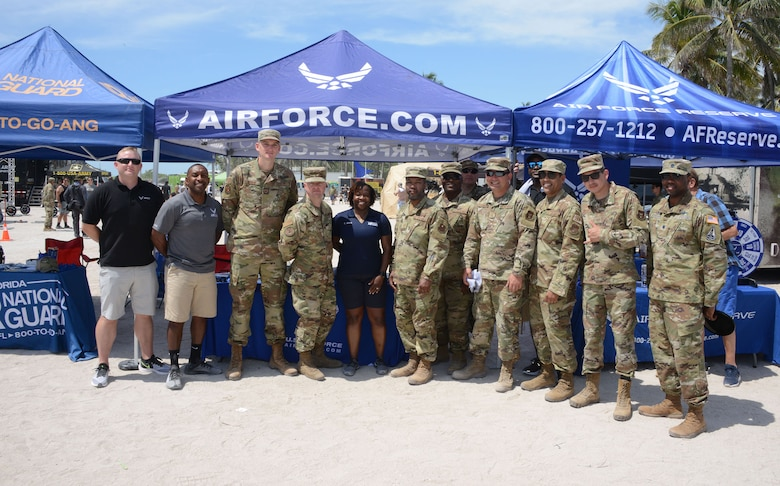 Total Force recruiters from the Air Force, Air Force Reserve and Air National Guard, worked side by side at the Miami Beach Air Show, May 28, 2021.