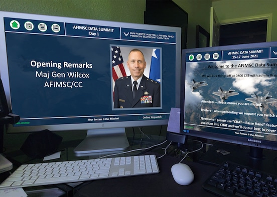The Air Force Installation and Mission Support Center hosted a virtual Big Data Summit June 15 -17, 2021. The summit shared best practices and updated enterprise stakeholders on AFIMSC's data management strategy, vision and ongoing efforts. (U.S. Air Force photo by Malcolm McClendon).