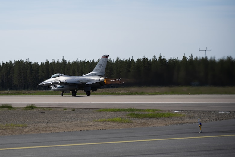 A U.S. Air Force F-16 from the 480th Fighter Squadron at Spangdahlem Air Base, Germany, takes off from the runway at Kallax Air Base, Sweden, June 8, 2021. Airmen from the 52nd Fighter Wing deployed to Sweden to participate in the Norwegian-led Arctic Challenge Exercise 2021 with  NATO and nordic allies. (U.S. Air Force photo by Senior Airman Ali Stewart)