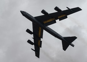 A B-52H Stratofortress, assigned to the 2nd Bomb Wing, Barksdale Air Force Base, Louisiana, takes off out of Morón Air Base, Spain, after a successful Bomber Task Force Europe June 17, 2021.