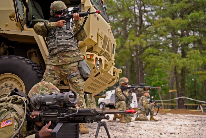 Soldiers from the 306th Engineer Company take up defensive positions against simulated opposing forces at Joint Base McGuire-Dix-Lakehurst, N.J., June 13, 2021. Their training was focused on combat readiness. (U.S. Air Force photo by Staff Sgt. Sabatino DiMascio)
