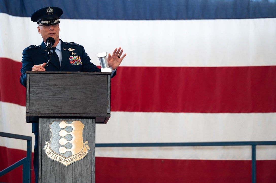 Maj. Gen. Mark E. Weatherington, 8th Air Force and Joint-Global Strike Operations Center commander, provides remarks at the 28th Bomb Wing change of command ceremony at Ellsworth Air Force Base, S.D., June 18, 2021.