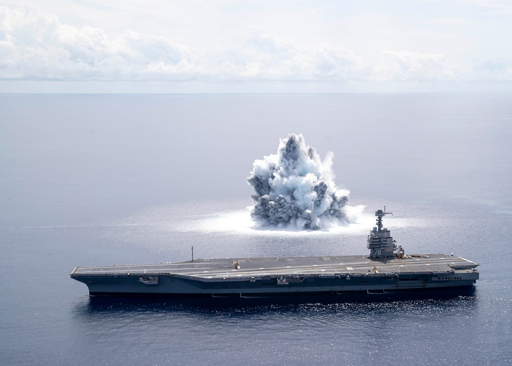 The aircraft carrier USS Gerald R. Ford (CVN 78) completes the first scheduled explosive event of Full Ship Shock Trials while underway in the Atlantic Ocean, June 18, 2021.