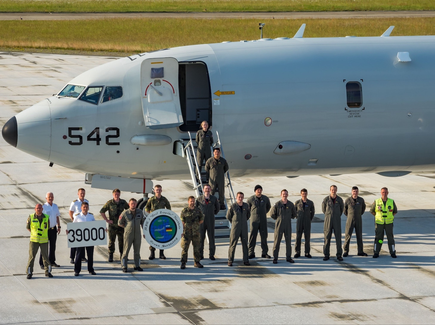 NORDHOLZ, Germany (June 19, 2021)  VP-4's Combat Aircrew TEN lands and refuels at Nordholz, Germany's airfield (ETMN) while supporting BALTOPS 50 exercise.  Also, VP-4 celebrates with ETMN personnel by being the 39,000 aircraft landing at the airfield. Held annually since 1972, BALTOPS is the premier maritime-led exercise in the Baltic Sea region and one of the largest exercises in northern Europe. BALTOPS 50 hosted 16 NATO countries and two partner nations providing high-end training across the entire spectrum of naval warfare.