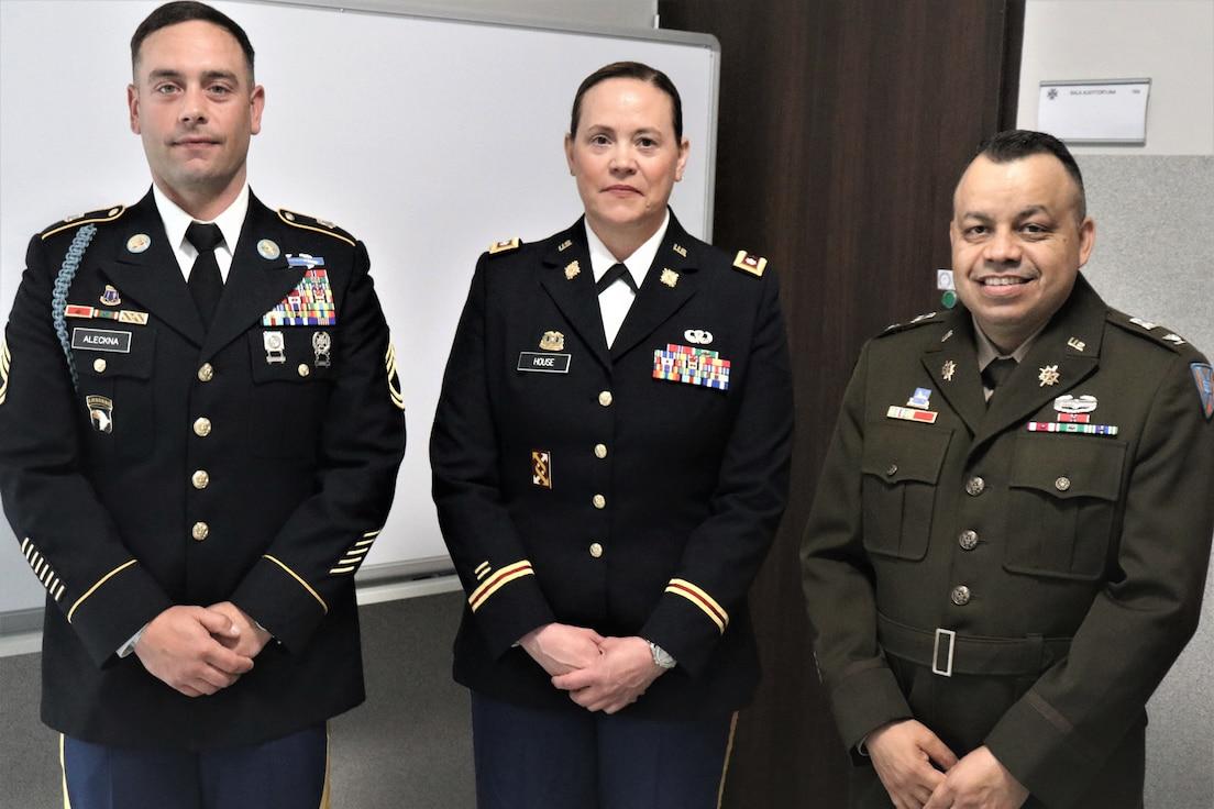 Sgt. 1st Class Kevin Aleckna, Lt. Col. Rhonda J. House, and Col. Jorge M. Fonseca