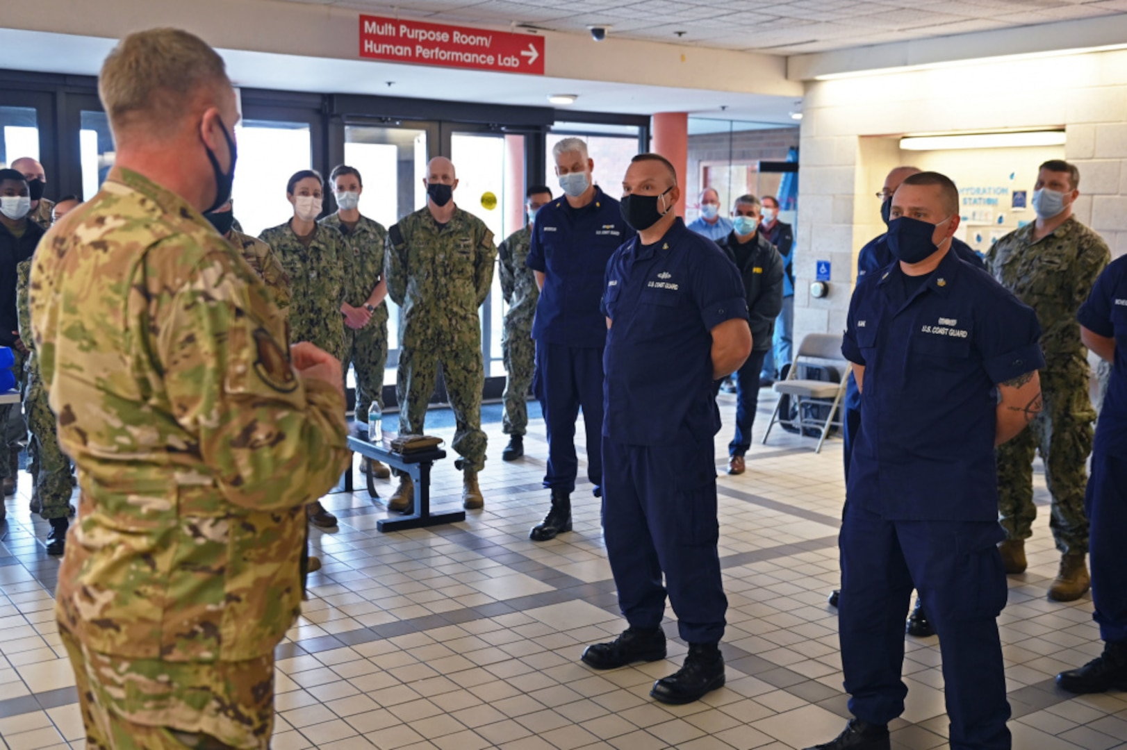 U.S. Coast Guard Reserve members from Massachusetts and New York deployed to the Queens Covid-19 vaccine distribution site were recognized by U.S. Air Force Assistant Adjutant General Maj. Gen. Timothy LaBarge for their efforts on May 6, 2021.