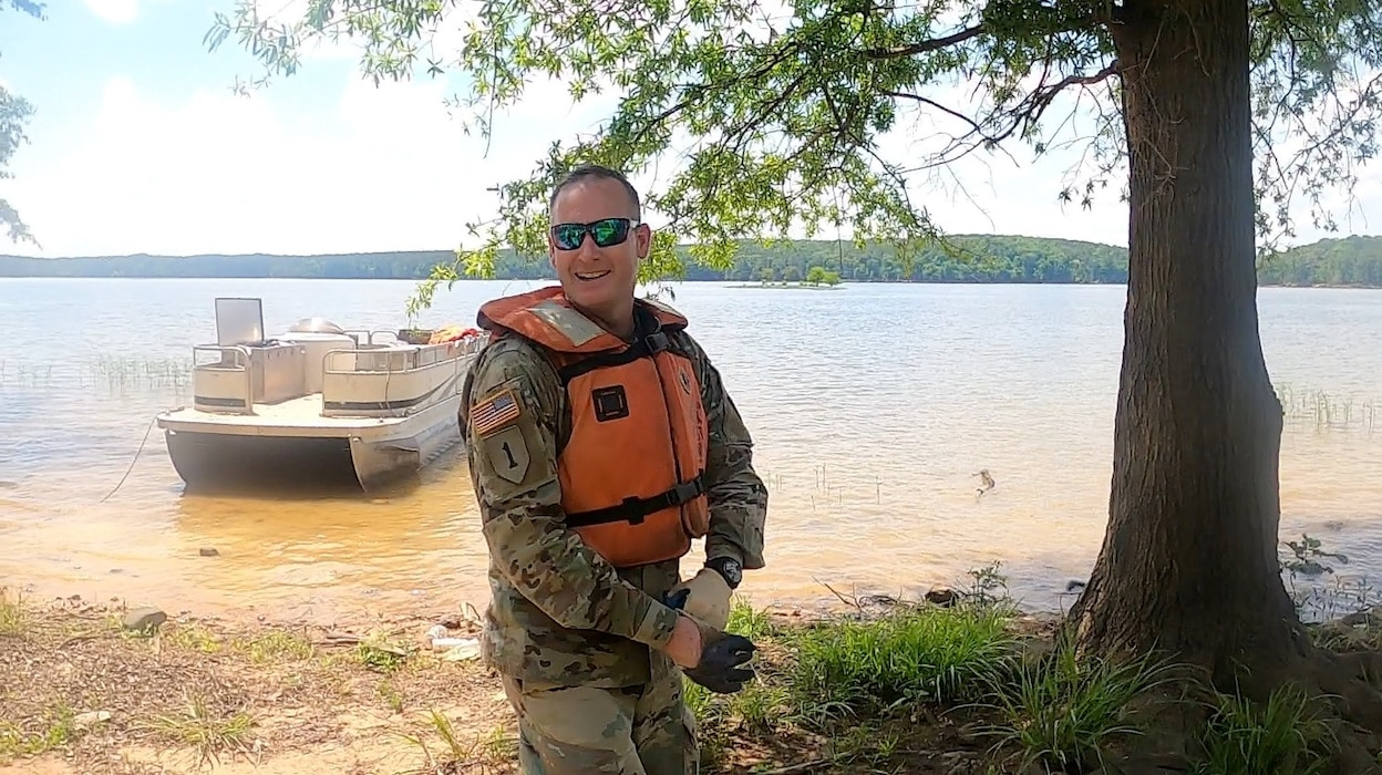 MAJ Rob Burnham Participating in Cleanup Jordan Lake