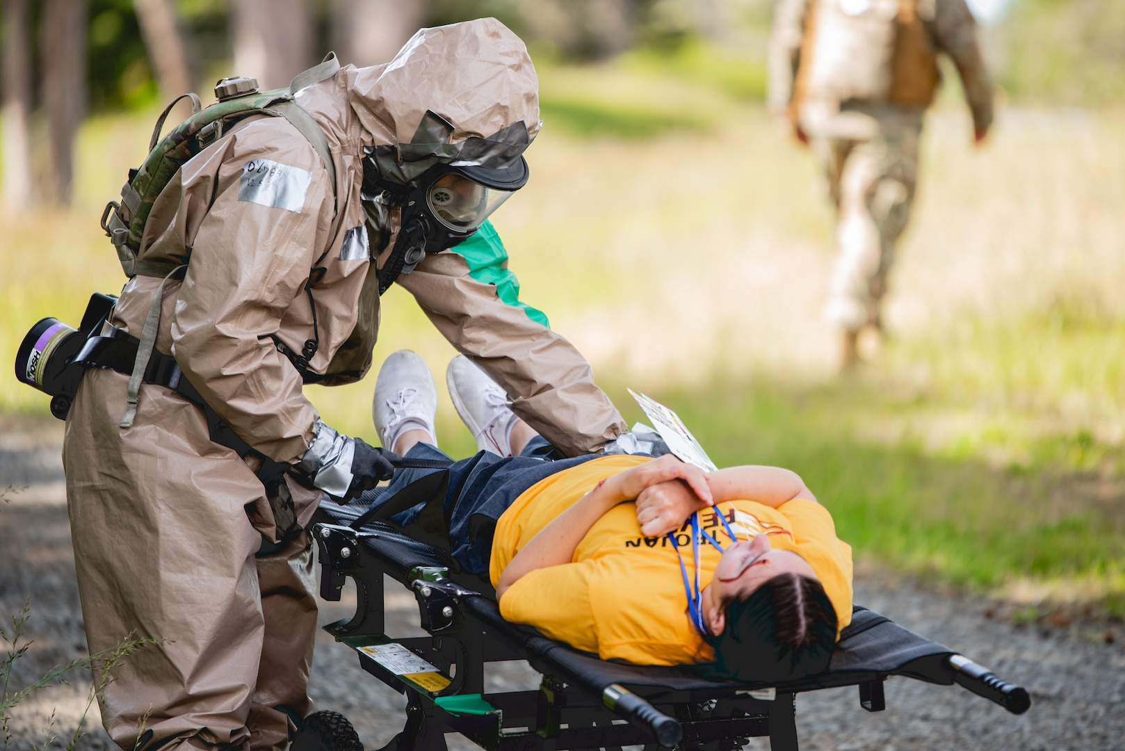 Guardsmen from the Oregon Chemical, Biological, Radiological, Nuclear and Explosive (CBRNE) Enhanced Response Force Package (CERFP) conduct mass casualty decontamination operations in an emergency preparedness exercise at Camp Rilea. It was part of an inspection conducted by the Joint Interagency Training and Education Center every two years to measure the team's ability to respond to a disaster.