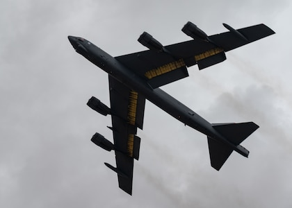 A B-52H Stratofortress, assigned to the 2nd Bomb Wing, Barksdale Air Force Base, Louisiana, takes off out of Morón Air Base, Spain, after a successful Bomber Task Force Europe June 17, 2021. Strategic bombers contribute to stability in the European theater, as they are intended to deter conflict rather than instigate it. If called upon, U.S. bombers offer a rapid response capability. (U.S. Air Force photo by Senior Airman Daniel Hernandez)