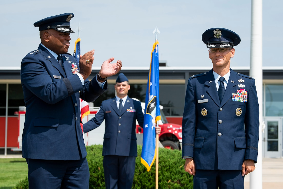 Lieutenant Gen. Richard Clark, superintendent of the Air Force Academy stands next to Col. Christopher Leonard, commander of the 10th Air Base Wing,