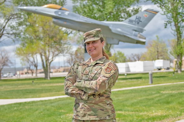 Staff Sgt. Danielle Monroe, a reservist with the 419th Civil Engineer Squadron, poses for a photo April 11, 2021 at Hill Air Force Base, Utah.