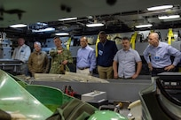 Lt. Cmdr. Vince Bove, executive officer of USS John Warner (SSN-785), gives a tour to Navy senior executives as part of Senior Executive Advanced Leader Training (SALT) sponsored by U.S. Fleet Forces Command, June 18, 2021.