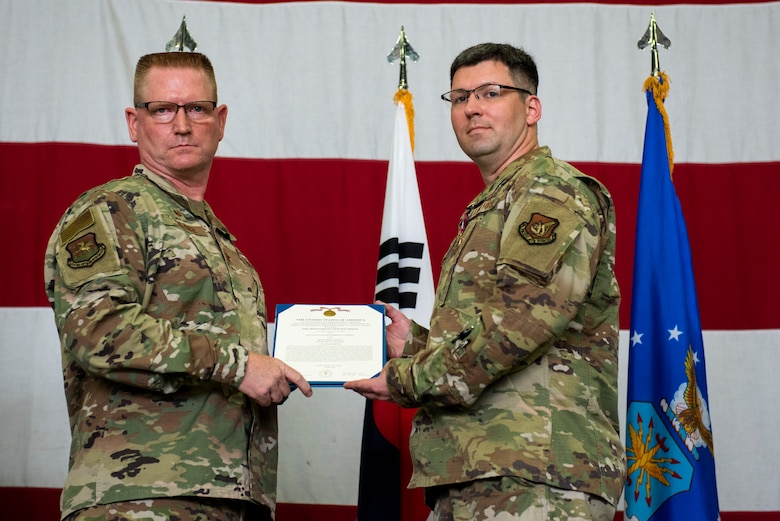 51st Maintenance Squadron held a change of command ceremony at Osan Air Base, Republic of Korea, June 18, 2021. Lt. Col. Robert Campbell transferred command of the 51st MXS to Maj. Benjamin Abshire.