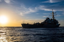 The Arleigh Burke-class guided-missile destroyer USS Laboon (DDG 58) sails in the Sea of Crete, May 28, 2021.