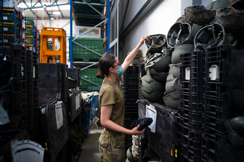 U.S. Air Force Airman 1st Class Christy Riddell, 86th Logistics Readiness Squadron individual protective equipment journeyman, takes inventory of protective equipment