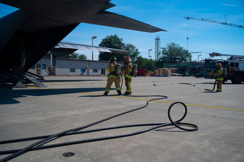 U.S. Air Force firefighters assigned to the 86th Civil Engineer Squadron conduct aircraft fire training exercises