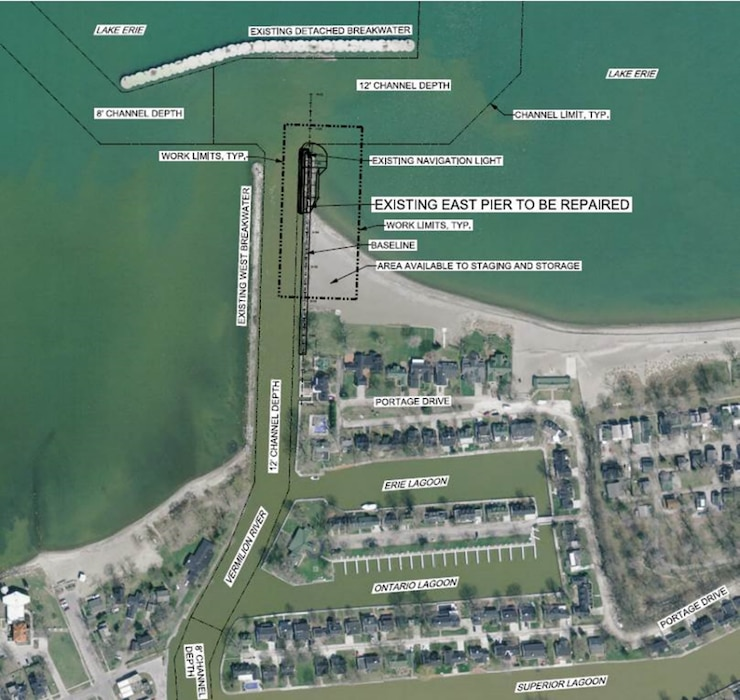 The current $1.825 million contract was awarded on September 30, 2020. The Corps of Engineers is using available funds to repair 216 feet of the most degraded section of the Vermilion Harbor east pier.  Repair of the remaining degraded reach of the east pier is dependent upon receiving additional funding.